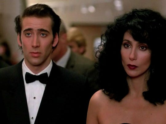 """Nicholas Cage and Cher star in """"Moonstruck."""""""