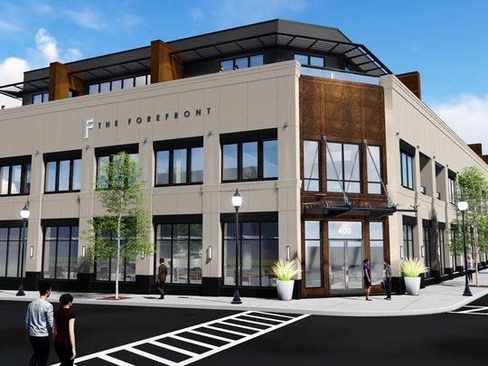 The Forefront at the corner of Old Woodward and Daines is one of several major developments going up in Birmingham.