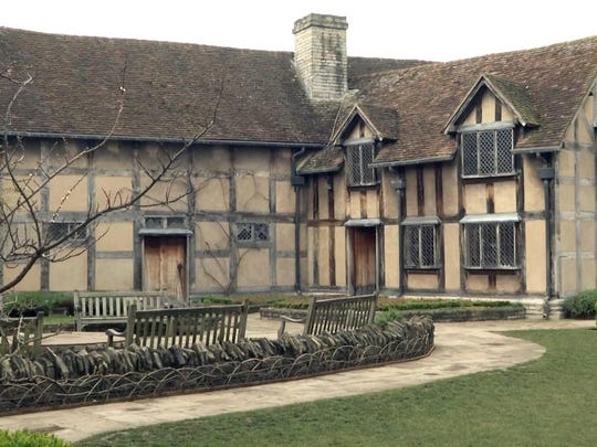 Shakespeare's Birthplace, a restored 16th century home in Stratford-upon-Avon, England, where it's believed William Shakespeare was born in 1564. Today, Shakespeare's restored family home is presented as it would have looked during the 16th century when William was ten.