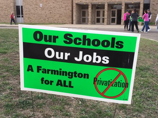 Farmington Public Schools is considering hiring private companies to provide transportation and custodial services.