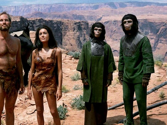 """Ready for a return trip to the Forbidden Zone? Charlton Heston, left, leads an escape party into strange new territory that holds a dark secret when the original sci-fi masterpiece """"The Planet of the Apes"""" (1968) returns to the big screen at 2 and 7 p.m. Sunday at The Movies at Governor's Square. It's rated PG. There's are encore screenings being presented on Wednesday. For tickets, visit www.fandango.com."""