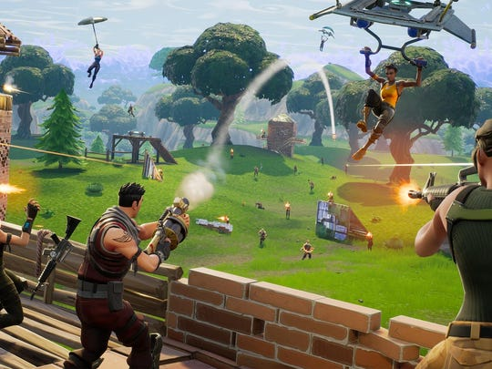 Fight against 99 other players to achieve a Victory Royale in the online shooter Fortnite.