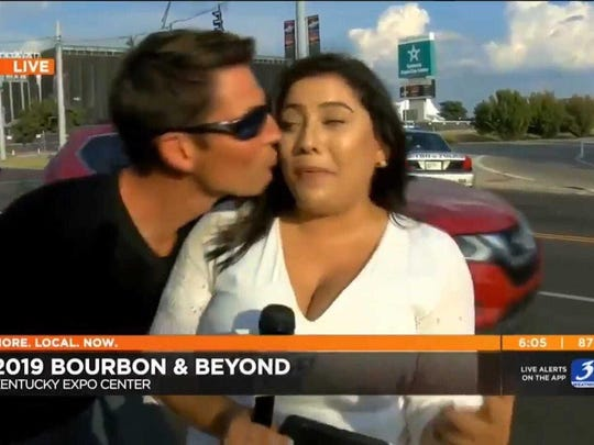"WAVE-TV reporter Sara Rivest says she felt ""uncomfortable and powerless"" when a man who was later identified as Eric Goodman kissed her on camera during a live broadcast on Sept. 20 outside of the Bourbon & Beyond music festival in Louisville, Ky. Rivest says she's leving the station and plans to return to her home in Albany, N.Y., ""and take some time before my next move."""