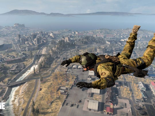 A character skydiving in Activision Blizzard's 'Call of Duty: Warzone.'