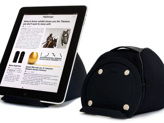 The iProp Bean Bag works a portable stand for tablets such as the iPad or Kindle Fire.