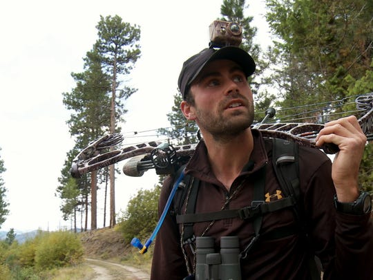 Remi Wilson, 30, of Reno with a bow during the making of an episode of 'Apex Predator,' a hunting series he hosts on the Sportsman Channel