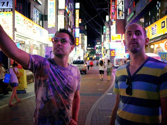 """Zack Below, left, and Jason Rubek, stars in the documentar """"Die Noobs,"""" tour 'Mecca of e-sports' in Seoul, South Korea."""