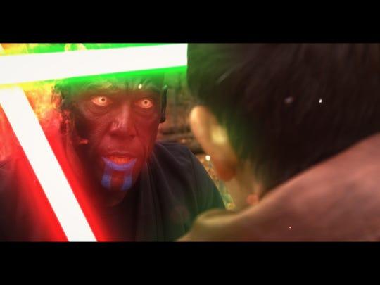 "Komito as Darth Zeanis squarin off in ""Star Wars: The Lesser Evil."""