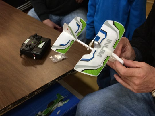 A close-up of a radio-controlled aircraft.
