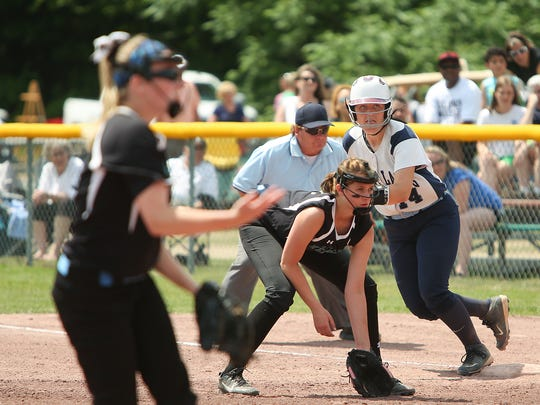 Pine Plains' Catherine Simmons breaks off of first during their finals loss to BIshop Kearney on Saturday in South Glens Falls.