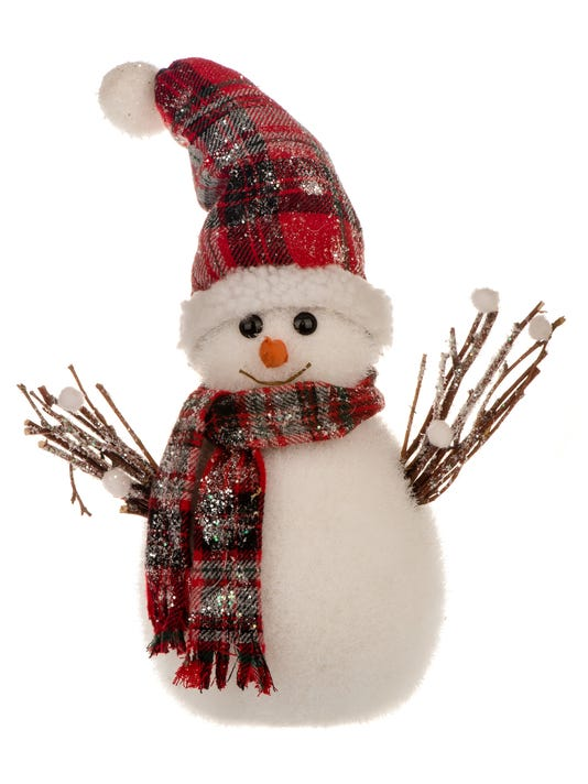 Christmas decorative snowman on white background.