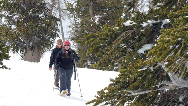 Visitors on a guided snowshoe hike at Cedar Breaks National Monument.