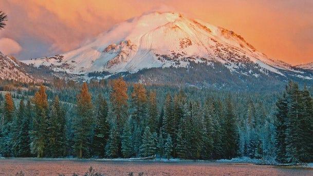 In thiis 2014,  Mount Lassen rises above the horizon.
