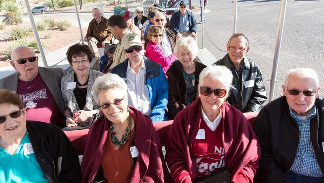 New Mexico State University alumni of the classes of 1957 and 1967 take a trolley campus tour down memory lane on Friday, Oct. 27, 2017.
