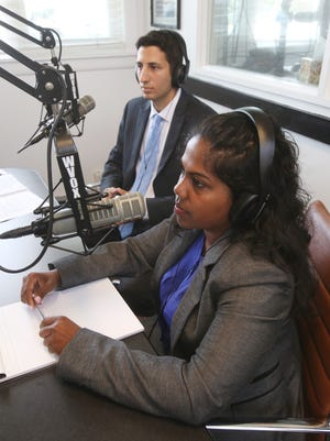 From left, David Tubiolo and Christine Peters debate on the air for Westchester County legislature District 14, at WVOX Radio in New New Rochelle July 28, 2016.