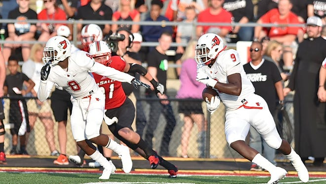 Colerain's Eric Phillips (9) intercepts a pass against La Salle during the 2017 season. Phillips has committed to the University of Cincinnati football program as part of the Bearcats' 2019 recruiting class.