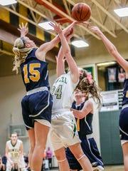 Hartland's Whitney Sollom (15) blocks a shot by Howell's Leah Weslock (24).