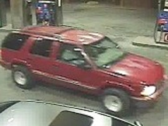 Circle K thieves fled in this 1999-2002 Red Chevy Blazer.