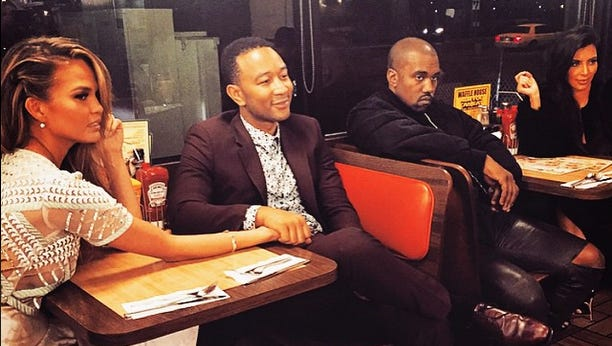 Superstar couple Kanye West and Kim Kardashian were spotted in the wee hours of Sunday morning eating with singer John Legend and his wife, model Chrissy Teigen ... at the Waffle House