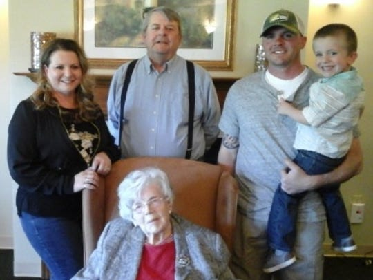 Hilda Burkett has five generations in her family. From