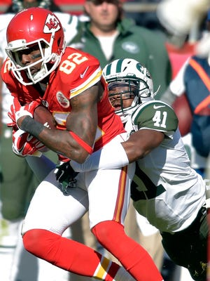 New York Jets defensive back Josh Thomas makes a tackle against the Kansas City Chiefs.