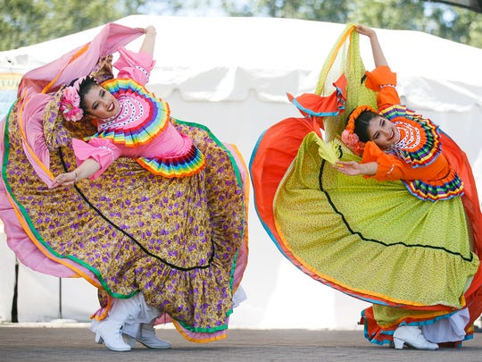 Members of Mexico en la Piel perform a Mexican folk dance at the 20th annual World Beat Festival on  June 24, 2017, at Riverfront Park in Salem.