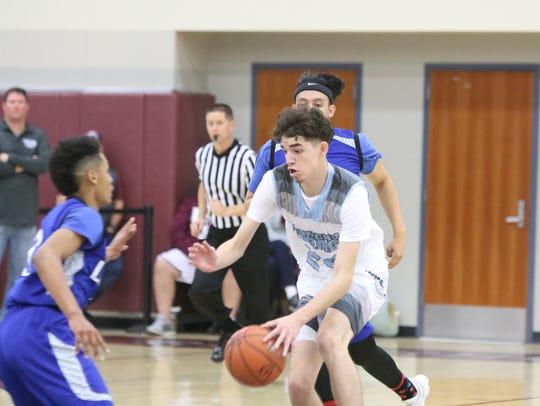 Rancho Mirage High's Koby Alvarez dribbles the ball
