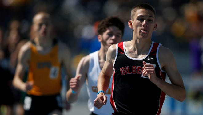 Gilbert's Thomas Pollard pulls away from his competitors Thursday, May 21, 2015 on his way to a state title in the 3-A boys 3200 meter run in Des Moines.