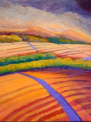 """This Vibrant Land"" by Marjorie Moesler is featured at the Gallery at Big Picture during the Downtown Ramble."