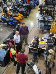 Nancy Johnson of Six Bends Harley Davidson talks to Coronado High School students on Thursday, May 21, 2015 during a job shadowing event for Junior Achievement.