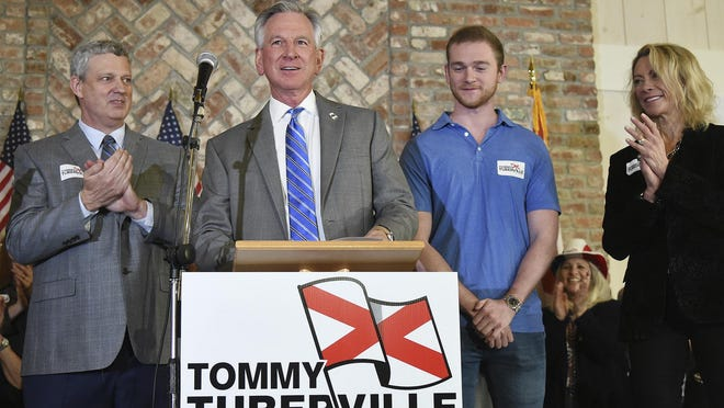 Alabama U.S. Senate candidate Tommy Tuberville meets his supporters at Auburn Oaks Farm in a file photo from earlier this year.