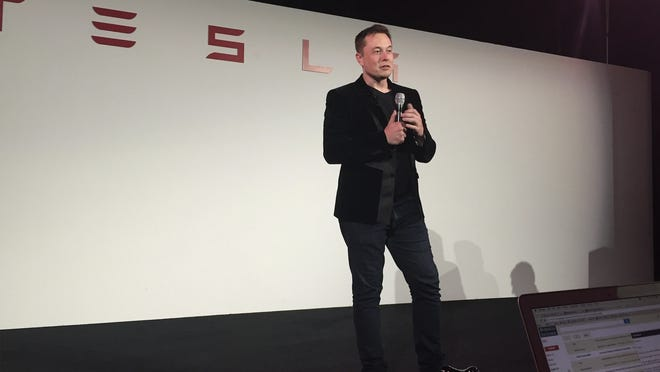 CEO Elon Musk at a Tesla product event.