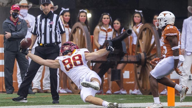Iowa State tight end Charlie Kolar couldn't hang on to this catch during Friday's 23-20 win over Texas, but he did lead the Cyclones with six catches for 131 yards.