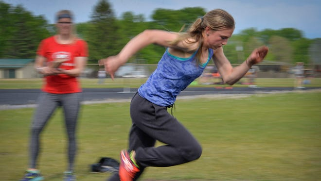 St. Cloud Tech sophomore Jodi Lipp bolts out of the blocks during practice Monday, May 23, at South Junior High School. She is the Times All-Area Girls Track and Field Athlete of the Year.