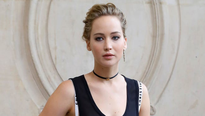 Jennifer Lawrence on Sept. 30, 2016 at Christian Dior fashion show in Paris.