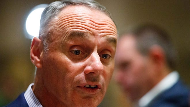"""I don't think that the presence of legalized gambling in Las Vegas should necessarily disqualify that market as a potential major league city, '' Major League Baseball commissioner Rob Manfred said Tuesday."
