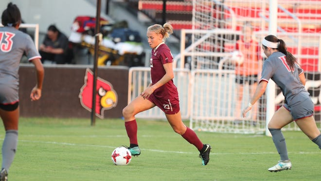 Florida State senior defender Emma Koivisto takes control of possession during the Seminoles 2-1 victory over Louisville on Thursday night at Lynn Stadium.