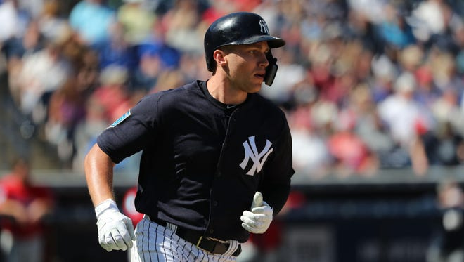 New York Yankees third baseman Brandon Drury (29) doubles during the fourth inning against the Philadelphia Phillies at George M. Steinbrenner Field.