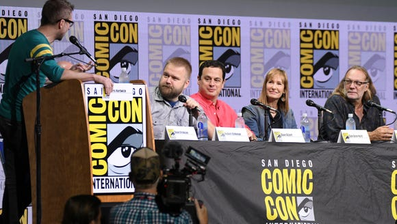 Moderator Chris Hardwick, from left, Robert Kirkman,
