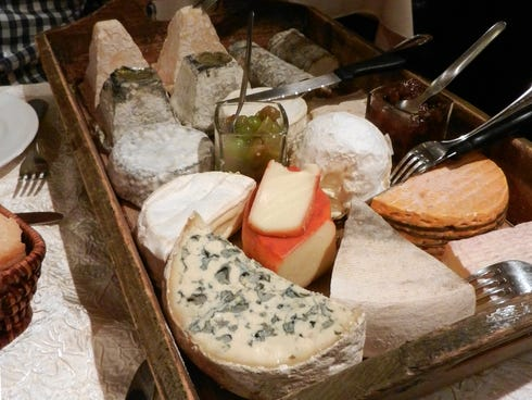 This colorful array of cheeses at a French restaurant in Amboise makes it hard to skip the cheese course