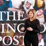 "Arianna Huffington, co-founder and editor in chief of ""The Huffington Post,"" speaks during the AOL 2015 NewFronts conference on April 28, 2015, in New York City."