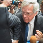 CHICAGO, IL - JUNE 09: Former Republican Speaker of the House Dennis Hastert fights his way through the press as he arrives for his arraignment at the Dirksen Federal Courthouse on June 9, 2015 in Chicago, Illinois. Hastert was in court to answer charges that he knowingly lied to the FBI and intentionally evaded federal reporting requirements involving bank transactions. Hastert is alleged to have withdrawn more than $1.5 million dollars in several installments from bank accounts to make payments to an 'Individual A' to cover-up sexual abuse that reportedly took place when Hastert was a teacher and wrestling coach at Yorkville High School. Since Hastert was charged, other reports of sexual abuse by Hastert have surfaced. (Photo by Scott Olson/Getty Images)