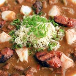 Shrimp and Andouille sausage gumbo by Rivue Restaurant chef Dustin Willett. July 9, 2015