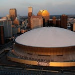 An aerial view of Louisiana Superdome in downtown New Orleans.