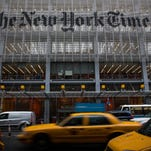 The New York Times' headquarters in Manhattan.  (Photo by Andrew Burton/Getty Images)
