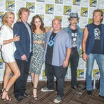 """From left, Elaine Hendrix, Denis Leary, Elizabeth Gillies, Robert Kelly, John Ales, and John Corbett attend the """"Sex&Drugs&Rock&Roll"""" press line on day 4 of Comic-Con International on Sunday, July 12, 2015, in San Diego. (Photo by Paul A. Hebert/Invision/AP)"""