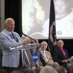 At Kennedy Space Center last year, Apollo 11 astronaut Buzz Aldrin addressed the audience at a ceremony renaming the refurbished Operations and Checkout Building for Apollo 11 astronaut Neil Armstrong, the first person to set foot on the moon.