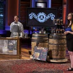 "Mark Cuban and guest ""Shark"" Ashton Kutcher toast glasses of McClary Bros. Old Timey Drinking Vinegars. Entrepreneur Jess McClary of Farmington appeared on the season premier of Shark Tank to pitch her product."