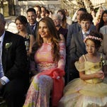 "This photo released by ABC shows, from left, Ed O'Neill, Sarah Hyland, Sofia Vergara, center, Nolan Gould, Aubrey Anderson-Emmons, Rico Rodriguez, in a scene from ""The Wedding, Part 2,"" during the season finale of ""Modern Family,"" Wednesday, May 21 (9:00-9:31 p.m., ET), on the ABC Television Network. (AP Photo/ABC, Peter ""Hopper"" Stone)"