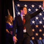 Senator Marco Rubio speaks at his campaign party in the Iowa Ballroom at the Marriott in downtown Des Moines, Monday, Feb. 1, 2016.